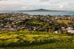 Devonport and Rangitoto Island at sunset Royalty Free Stock Images