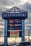 Devonshire购物中心标志 库存图片