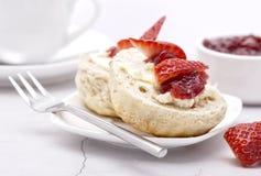 Devonshire Cream Tea. Cream on the bottom Jam on top Stock Photo