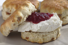 Devonshire Scone with Cream and Jam Royalty Free Stock Photos