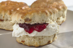 Devonshire Scone with Cream and Jam Stock Photo