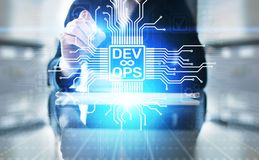 Devops Agile development and optimisation concept on virtual screen. stock photo