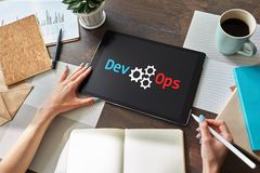 DevOps - development cycles of Automation and monitoring at all steps of software construction. royalty free stock images
