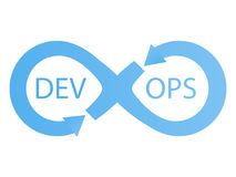 DevOps logotype. Sign of infinity with arrows blue Royalty Free Stock Images