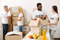 Devoted active people busy with shipments Royalty Free Stock Image
