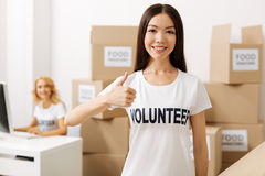 Devoted gorgeous girl enjoying her volunteering experience Royalty Free Stock Images