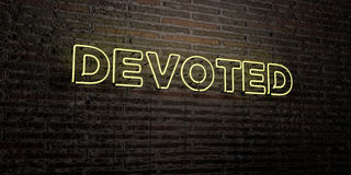 DEVOTED -Realistic Neon Sign on Brick Wall background - 3D rendered royalty free stock image. Can be used for online banner ads and direct mailers Stock Image