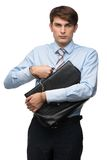 Devoted to work business man. Devoted to work white collar young business man Stock Photo