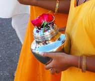 Devotee Carrying Milk Pot Royalty Free Stock Images