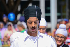 Devotee Sikh with black turban recite prayer Royalty Free Stock Image