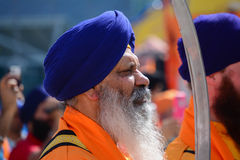 Devotee Sikh with blue turban recite prayer. Royalty Free Stock Photography