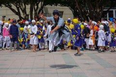 Devotee Sikh man dancing Stock Photos