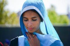 Devotee Sikh praying. Los Angeles, CA - Abril 5, 2015: Devotee Sikh praying at the Anniversary of Baisakhi celebration Royalty Free Stock Image