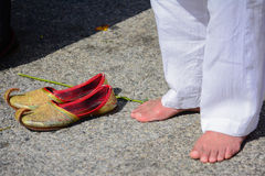 Devotee Sikh praying without shoes Royalty Free Stock Image