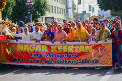 Devotee Sikhs marching. Los Angeles, CA - Abril 5, 2015: Devotee Sikhs marching at the Anniversary of Baisakhi celebration Stock Photography