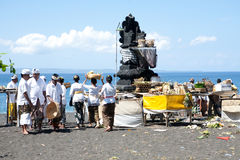 Devotees attending their Balinese ritual Stock Photography