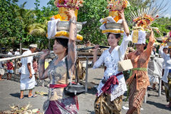Devotees attending their Balinese ritual Stock Photo