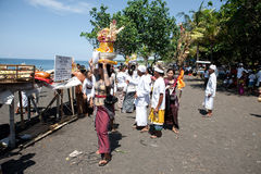 Devotees attending their Balinese ritual Royalty Free Stock Images