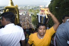 Devotees carrying milk pot Royalty Free Stock Photography