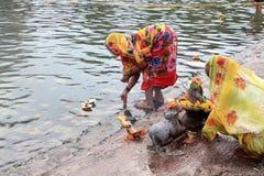 Devotees do rituals in the river Godavari Royalty Free Stock Image