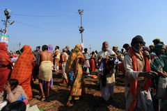 Devotees gather to take holy bath during the Kumbh Mela Royalty Free Stock Photos