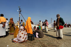 Devotees gather to take holy bath during the Kumbh Mela Stock Photo