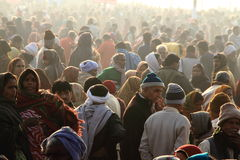 Devotees gathered at the Kumbh Mela grounds for taking the holy bath. On February 10, 2013 in Allahabad, India. Kumbh Mela is considered as the largest human Royalty Free Stock Photography