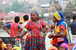 Devotees gathered at Kumbha Mela stock image