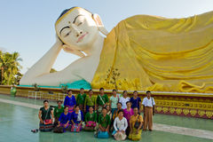 The Devotees of The Golden Pagoda of Bagan, Myanmar Royalty Free Stock Photography