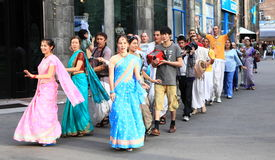 Devotees from Hare Krishna in Almaty stock photography
