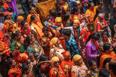 Devotees of Hindu Religious Parade. Devotees enjoying participation in Hindu religious parade in India dressed up in ethnic traditional wear sari Stock Images