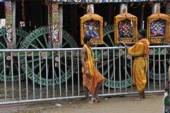 Devotees and jagannath chariot at puri