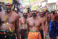 Devotees of Lord Ayyappa perform ' Erumeli Petta Thullal' Royalty Free Stock Photos