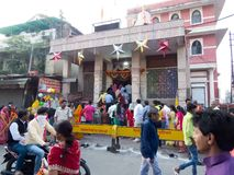Devotees at Mahalaxmi Temple Indore-India. Queue of Hindu Devotees at Laxmi Temple Indore at Rajbada Palace on Early Diwali Morning. Its a tradition to visit royalty free stock image