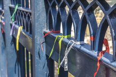 Tied ribbons at the gates of the Basilica of Our Lady Aparecida stock photo