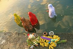 Devotees are praying in a water body during the Chhath Festival in Kolkata, India. The hindu devotees are praying to sun god in a water body during the Chhath stock image