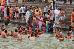 Devotees take bath in the river Godavari Royalty Free Stock Images