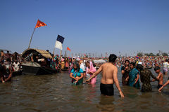 Devotees take holy bath during the Kumbh Mela Stock Image