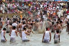 Devotees take part in the 'Ochira Kali' Royalty Free Stock Photo