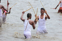 Devotees take part in the 'Ochira Kali' Royalty Free Stock Images
