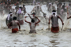 Devotees take part in the 'Ochira Kali' Royalty Free Stock Photos