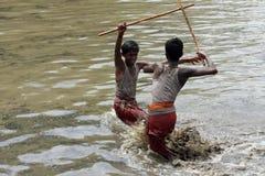 Devotees take part in the 'Ochira Kali' Stock Photo