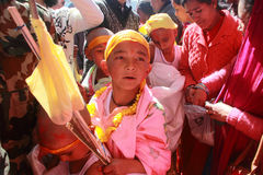 Devotees take  ritualistic parade Royalty Free Stock Images