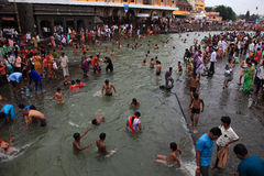 Devotees taking bath in Gothavari stock photography