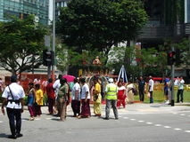Devotees during Thaipusam. Group of devotees along the procession of Thaipusam, Festival of Light in Singapore Royalty Free Stock Image