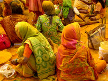 Devotees in Turmeric Stock Photo