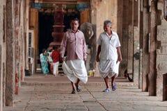 Devotees walk at the premises of Kumbeshwarar temple Royalty Free Stock Photography