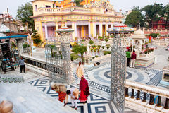 Devotees worship at the stairs to Jain temple Royalty Free Stock Images