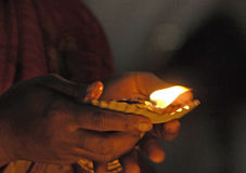 Devoto al tempiale Madura di Menakshi Fotografie Stock Libere da Diritti