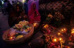 Devoto di Chhat Fotografia Stock
